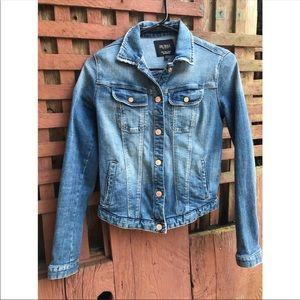Zara Blue Denim Jacket with Snap Buttons Size S